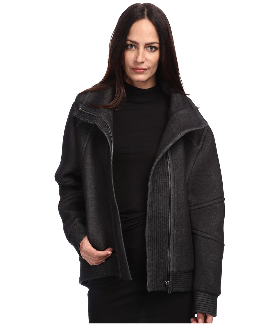 HELMUT LANG - Funnel Neck Jacket (Black) Women's Coat