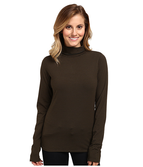 Carve Designs - Cedars Striped Turtleneck (Dark Loden Shadow) Women's Long Sleeve Pullover
