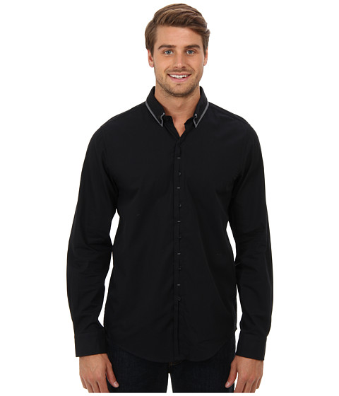 harve benard - Solid L/S Button Up Shirt (Anthracite) Men's Long Sleeve Button Up