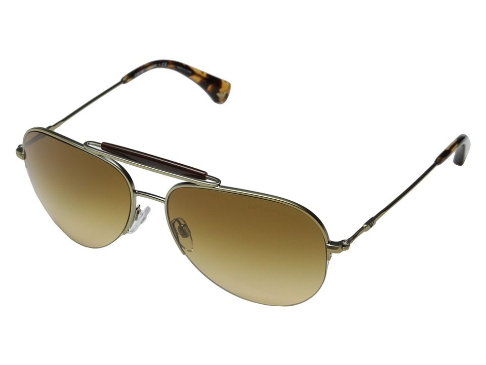 Emporio Armani - 0EA2020 (Matte Pale Gold/Yellow Gradient Brown) Fashion Sunglasses