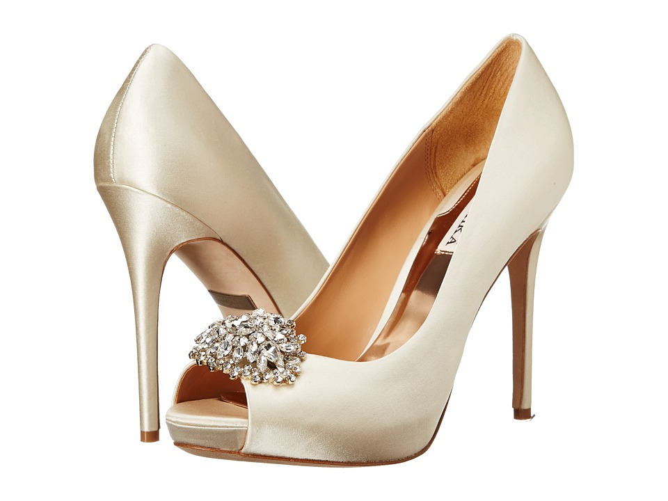 Badgley Mischka - Jeannie (Ivory Satin) High Heels
