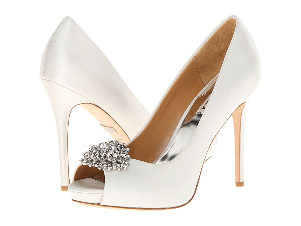Badgley Mischka - Jeannie (White Satin) High Heels