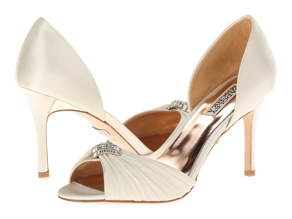 Badgley Mischka - Jennifer (Ivory Satin/Chiffon) High Heels