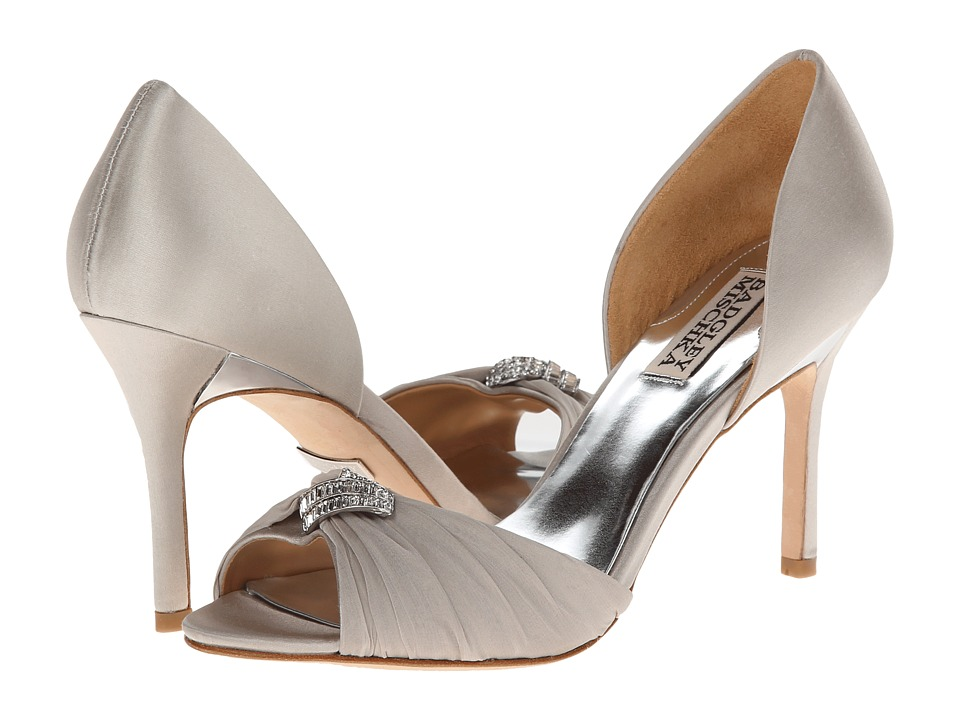Badgley Mischka - Jennifer (Silver Satin/Chiffon) High Heels