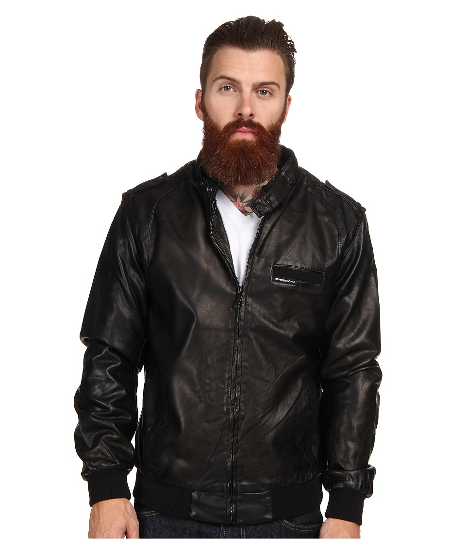Members Only - Faux Real Racer Jacket (Black) Men's Coat