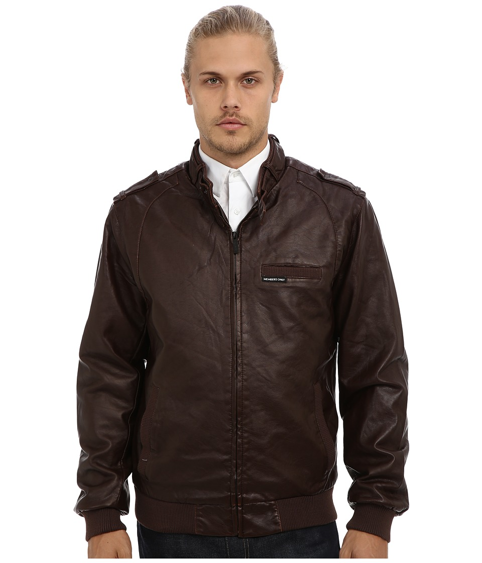Members Only - Faux Real Racer Jacket (Dark Brown) Men