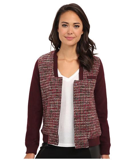Members Only - Updated Tweed Varsity Jacket w/ Contrast Sleeve (Burgundy) Women's Coat