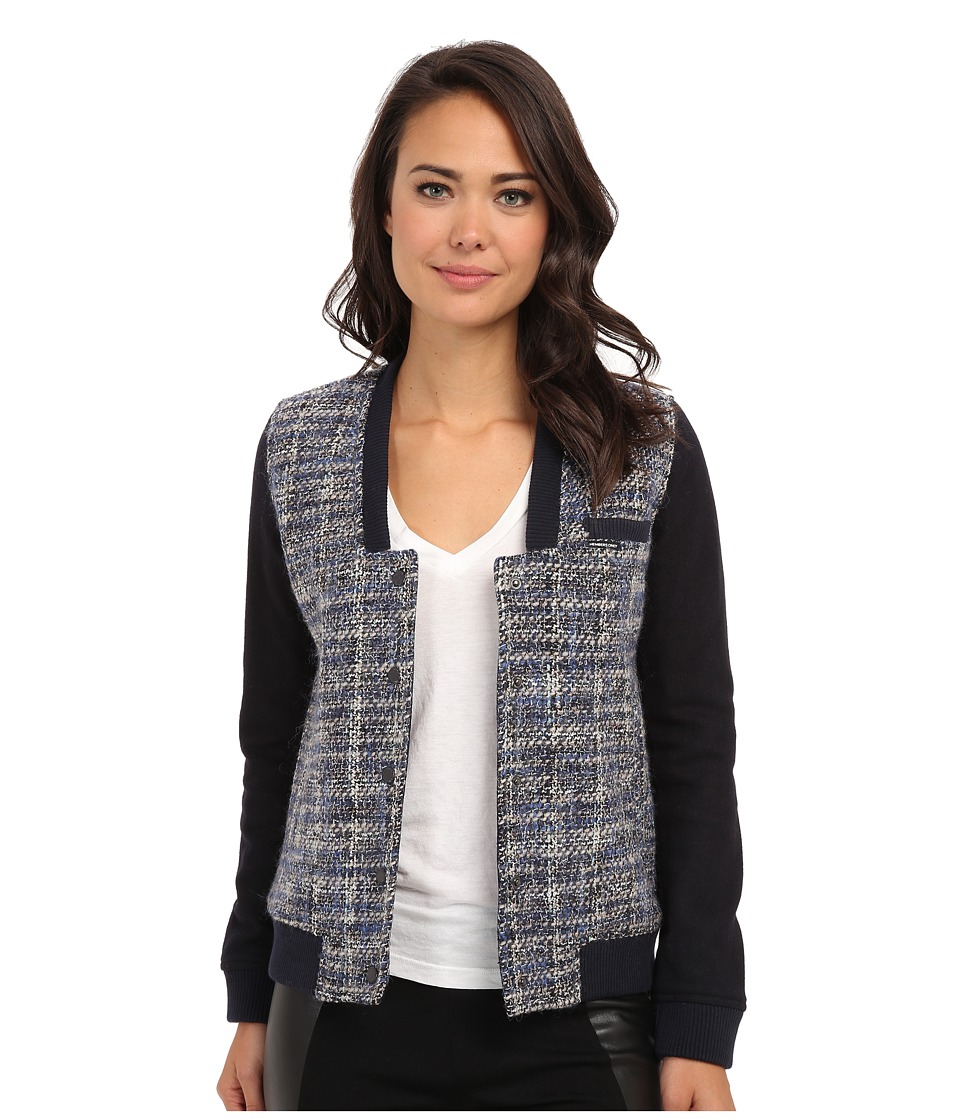 Members Only - Updated Tweed Varsity Jacket w/ Contrast Sleeve (Navy) Women's Coat