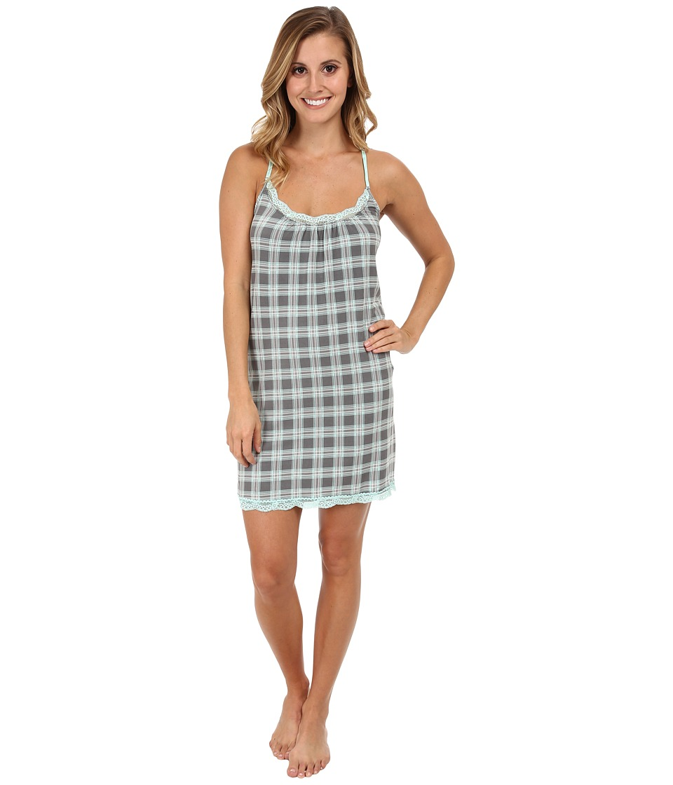 P.J. Salvage - Rosy Outlook Plaid Sleep Chemise (Grey) Women's Pajama