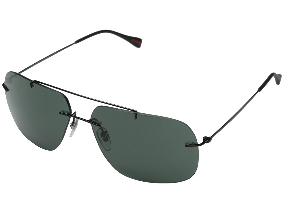 Prada Linea Rossa - 0PS 55PS (Black/Grey Green) Fashion Sunglasses