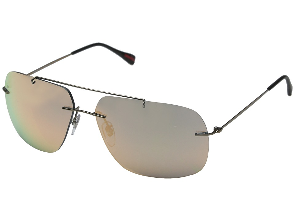 Prada Linea Rossa - 0PS 55PS (Matte Brown/Grey Mirror Rose Gold) Fashion Sunglasses