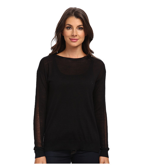 Rebecca Taylor - Sheer Block Crew Pullover (Black Combo) Women's Sweater