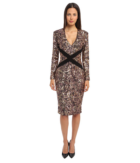 Just Cavalli - Long Sleeve Sequin Dress (Natrual Variant) Women's Dress