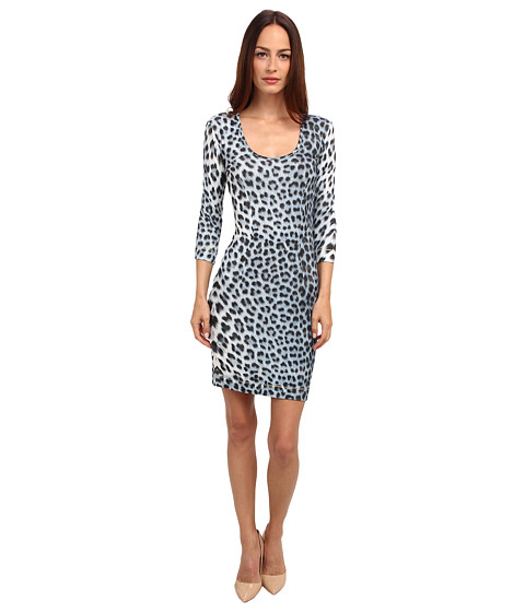 Just Cavalli - Long Sleeve Animal Print Dress (Light Blue Variant) Women
