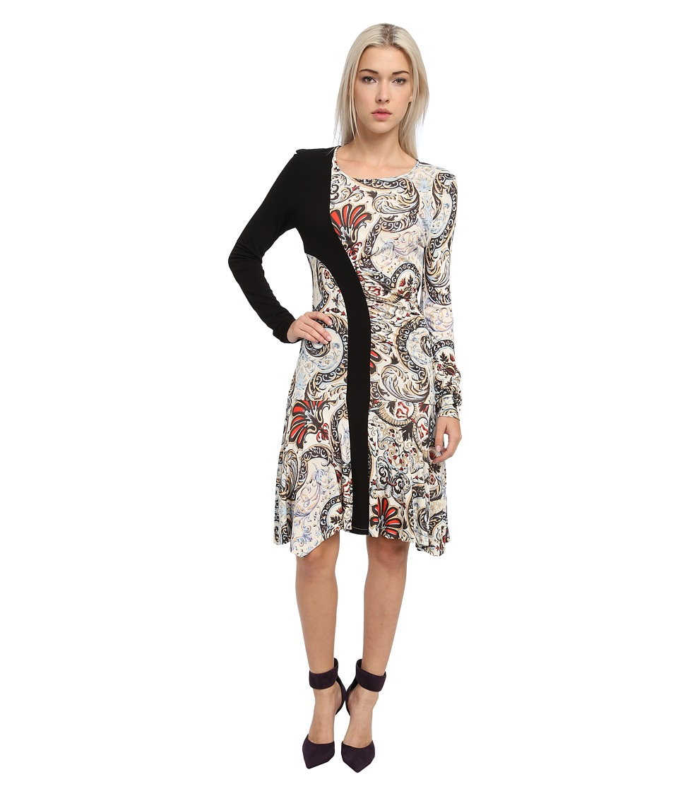 Just Cavalli - Long Sleeve Print Dress (Light Blue Variant) Women's Dress
