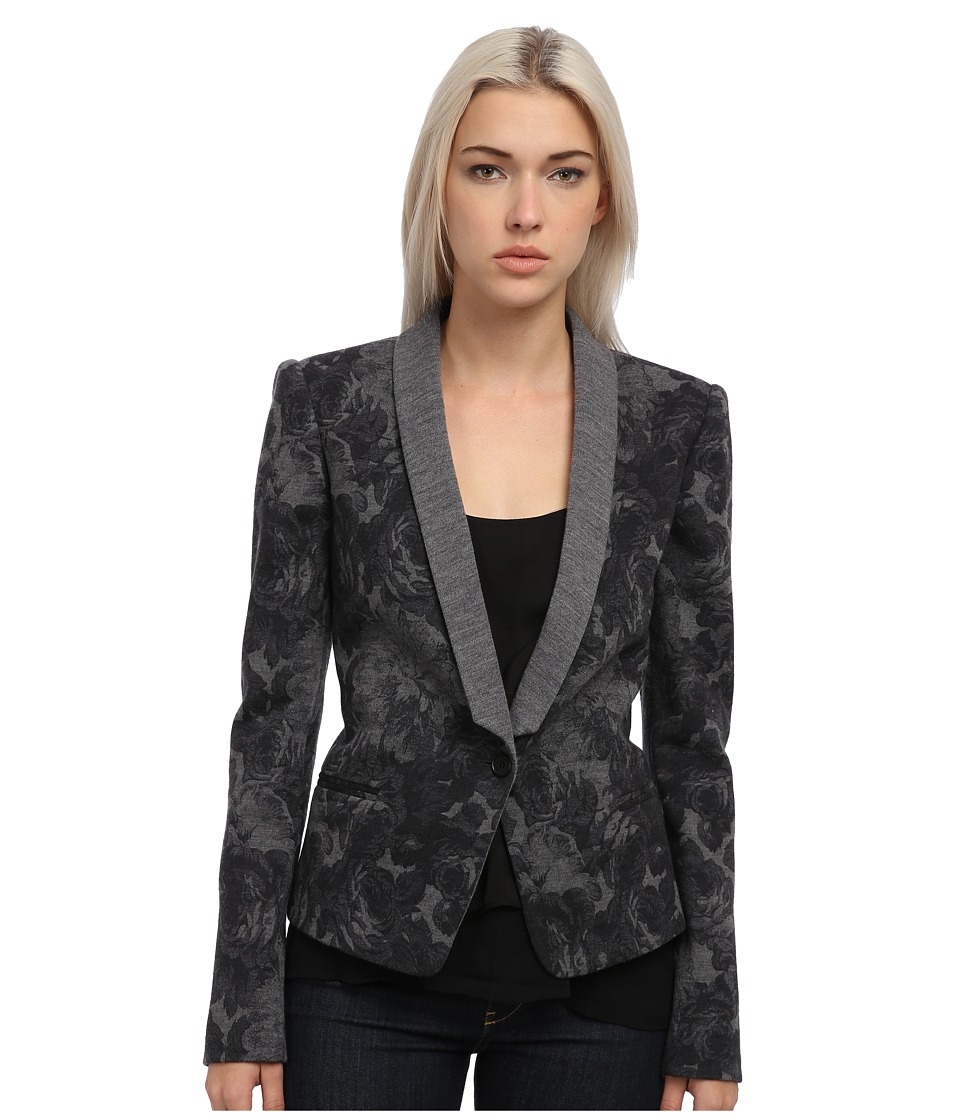 Just Cavalli - Dark Floral Print Blazer (Dark Grey Melange) Women's Jacket