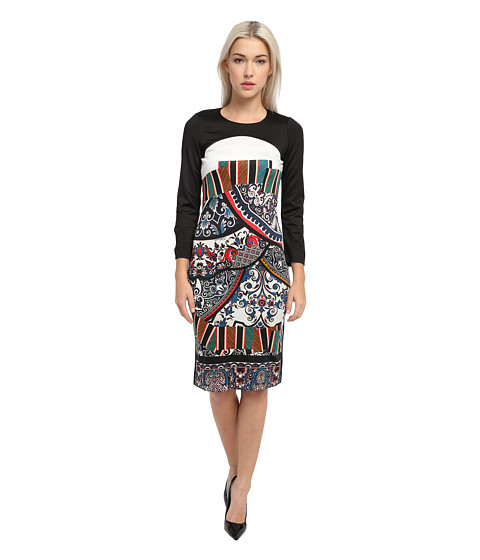 Just Cavalli - Long Sleeve Printed Shirt Dress (Black) Women's Dress