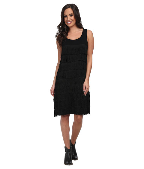 Tasha Polizzi - Fringe Dress (Black) Women's Dress
