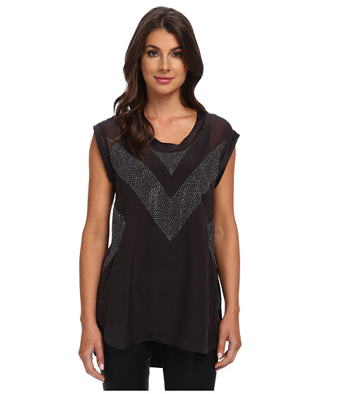 Rebecca Taylor - Sleeveless Tank with Beading (Thunder) Women's Blouse