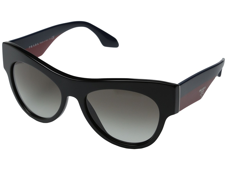 Prada - 0PR 28QS (Black/Blue Red/Gradient Grey) Fashion Sunglasses