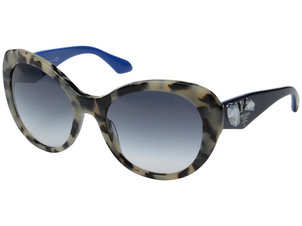 Prada - 0PR 26QS (White Havana/Clear Gradient Blue) Fashion Sunglasses