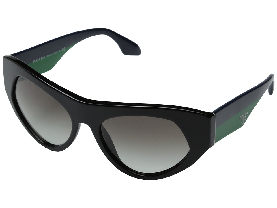Prada - 0PR 27QS (Black/Blue Green/Gradient Grey) Fashion Sunglasses