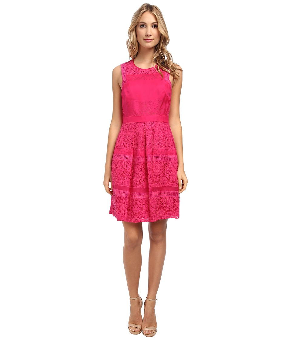 Rebecca Taylor - Lace Dress (Hot Pink) Women's Dress