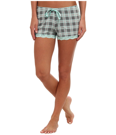 P.J. Salvage - Rosy Outlook Plaid Sleep Short (Grey) Women's Pajama