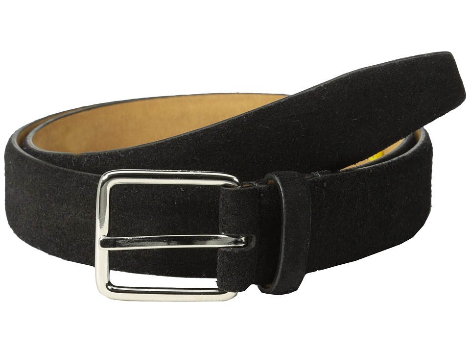 Cole Haan - 30mm Suede Feather Edge Strap w/ Harness Buckle (Black) Men