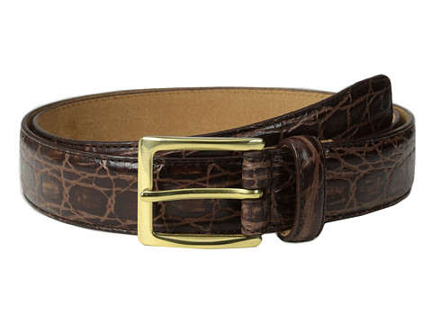 Cole Haan - 30mm Croc Embossed Buckle (Chocolate) Men's Belts