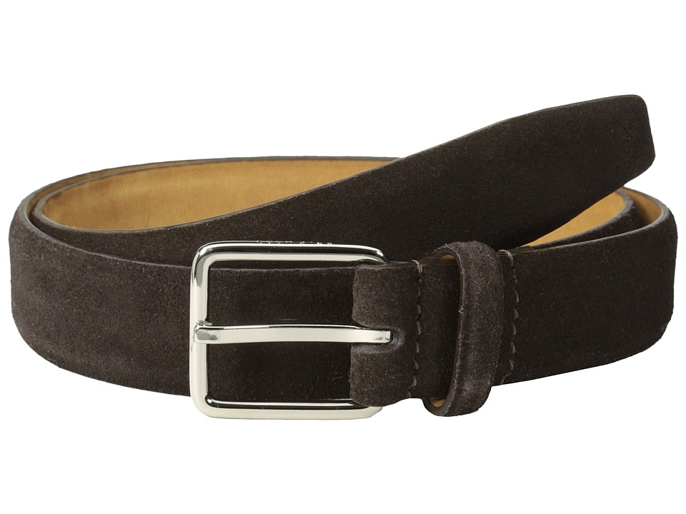 Cole Haan - 30mm Suede Feather Edge Strap w/ Harness Buckle (Chocolate) Men