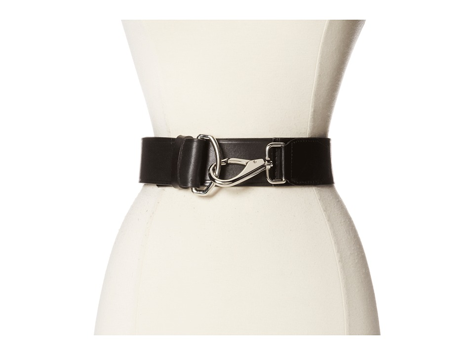 Cole Haan - 50mm High Shine Leather Belt with Hook Closure (Black) Women