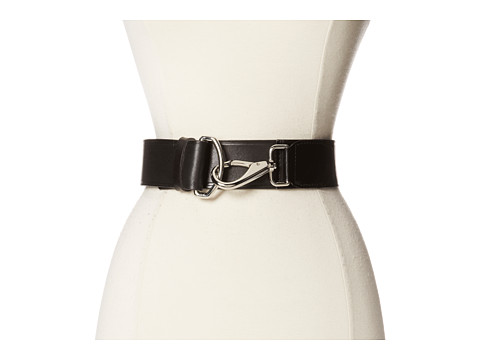 Cole Haan - 50mm High Shine Leather Belt with Hook Closure (Black) Women's Belts