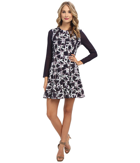 Rebecca Taylor - RW Geo Print Pleat Dress (Charcoal) Women's Dress