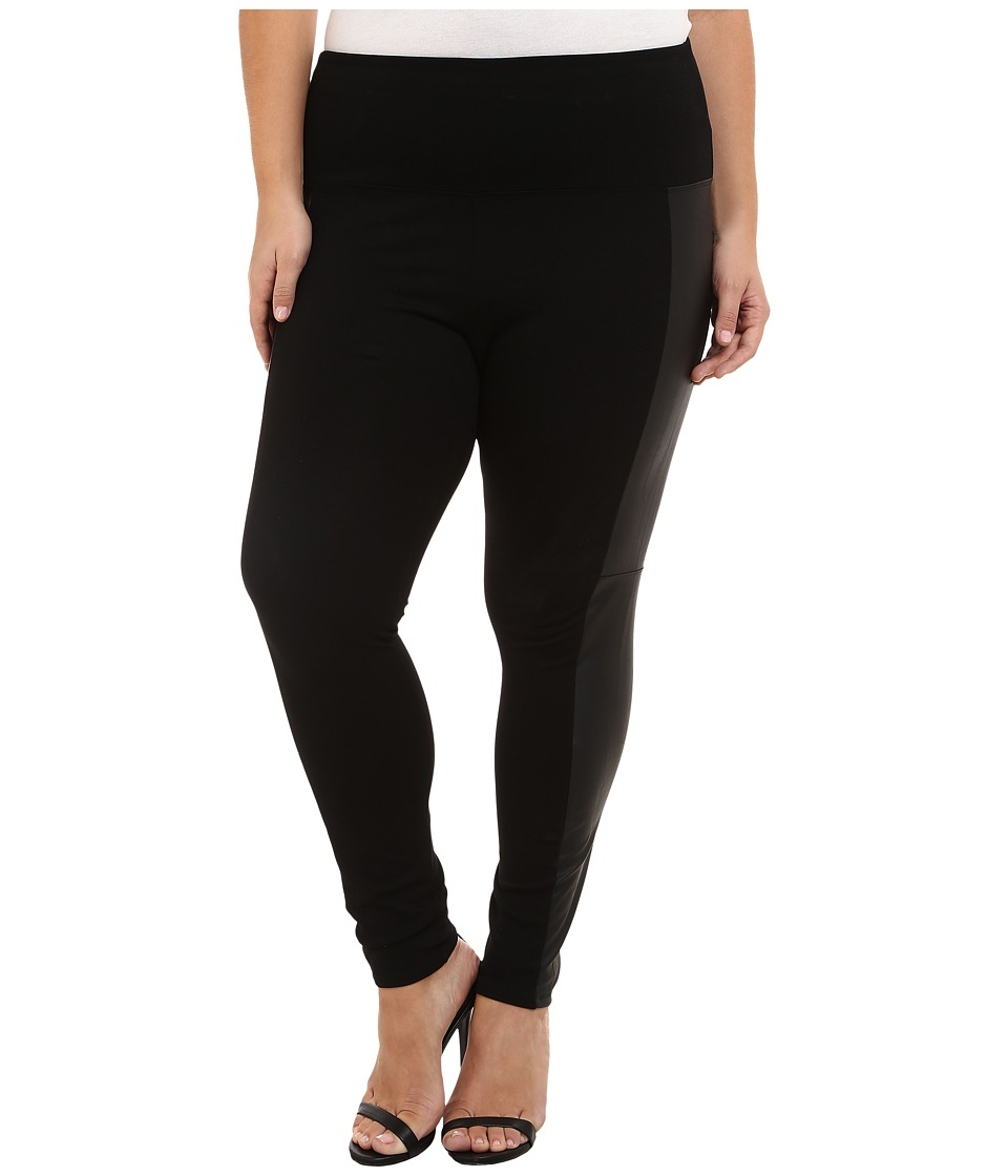 Lysse - Plus Size Ponte Legging w/ Vegan Side Panel 15040 (Black) Women's Casual Pants