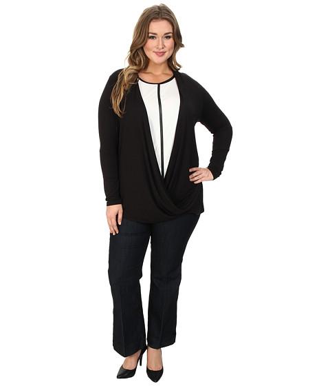 Lysse - Plus Size Drape Wrap Top (Black) Women's Long Sleeve Pullover