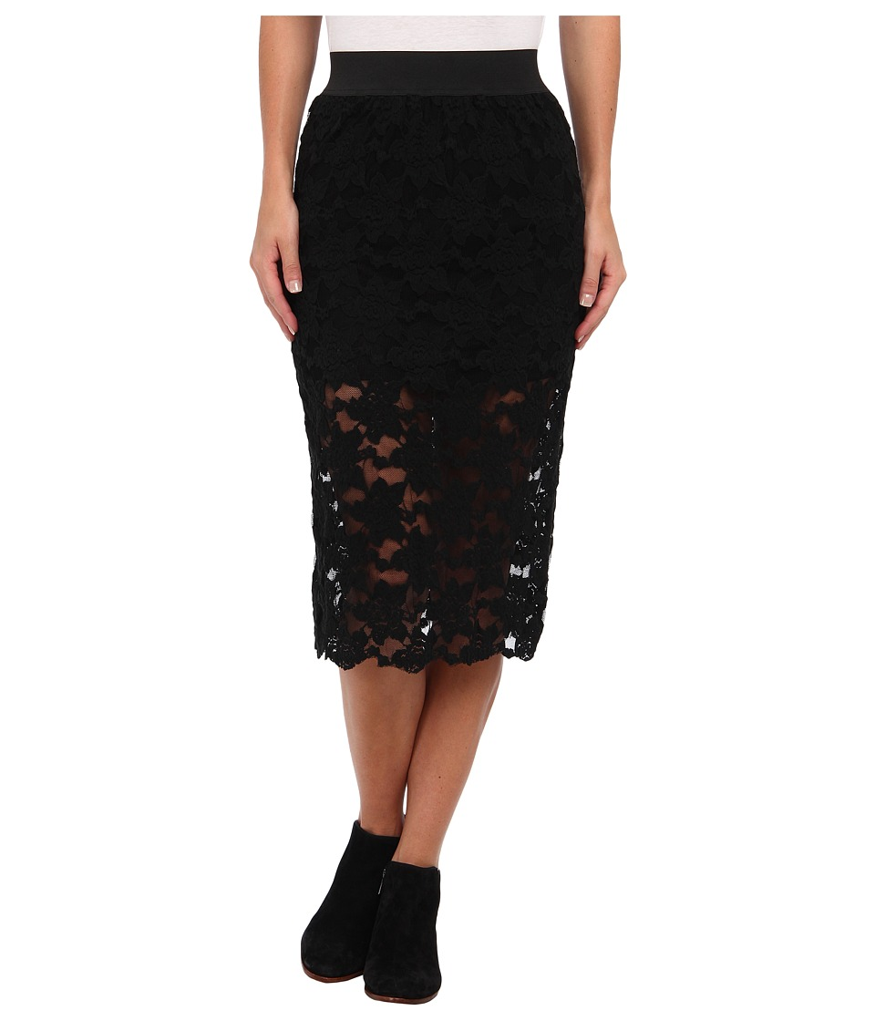 Free People - Lace Pencil Skirt (Black) Women's Skirt