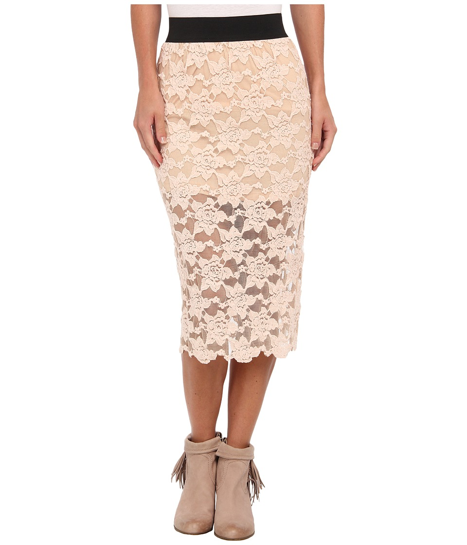 Free People - Lace Pencil Skirt (Blush) Women's Skirt
