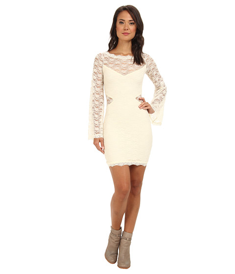Free People - Lovely In Lace Bodycon Dress (Cream) Women
