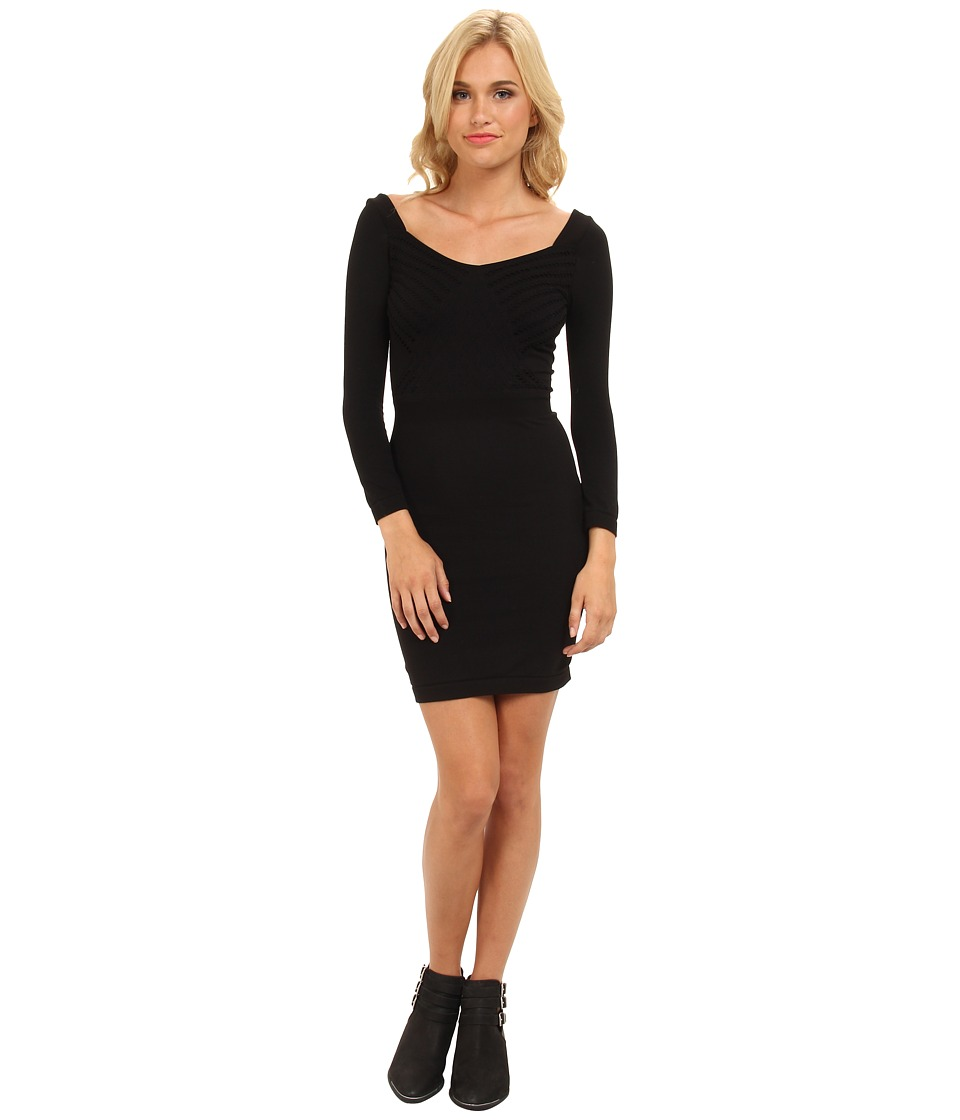 Free People - Seamless Crossover Slip (Black) Women's Dress