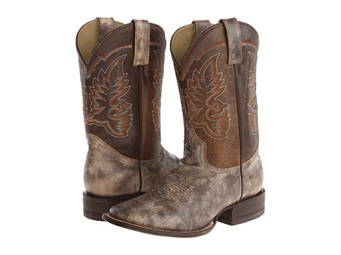 Stetson - 11 Shaft Double Welt Wide Square Toe Boot (Bone Black/Brown) Cowboy Boots