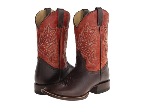 Stetson - 11 Shaft Double Welt Wide Square Toe Boot (Black/Red/Orange) Cowboy Boots