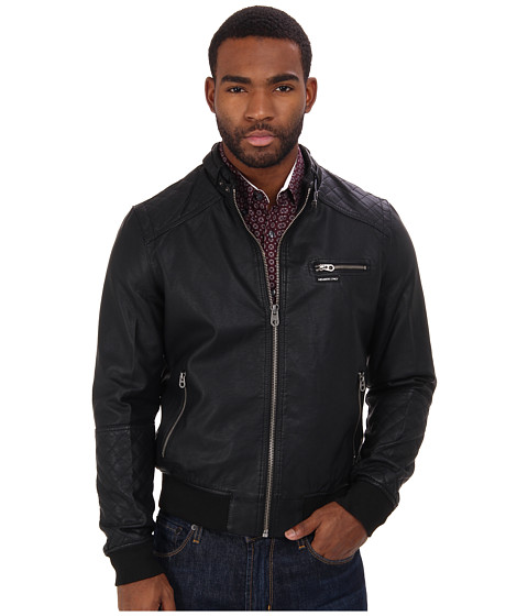 Members Only - Biker Jacket w/ Quilted Detail (Black) Men's Coat
