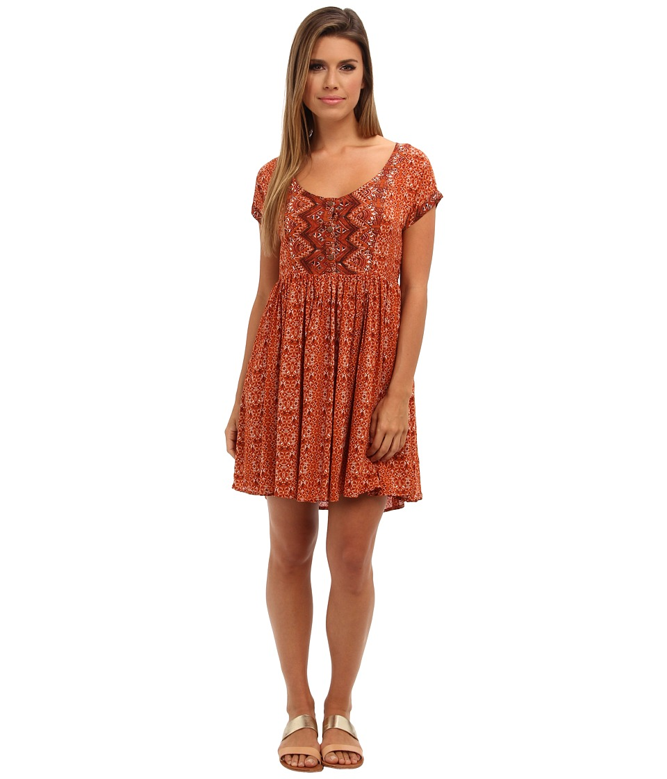 Free People - Sundown Babydoll Dress (Orange Combo) Women's Dress