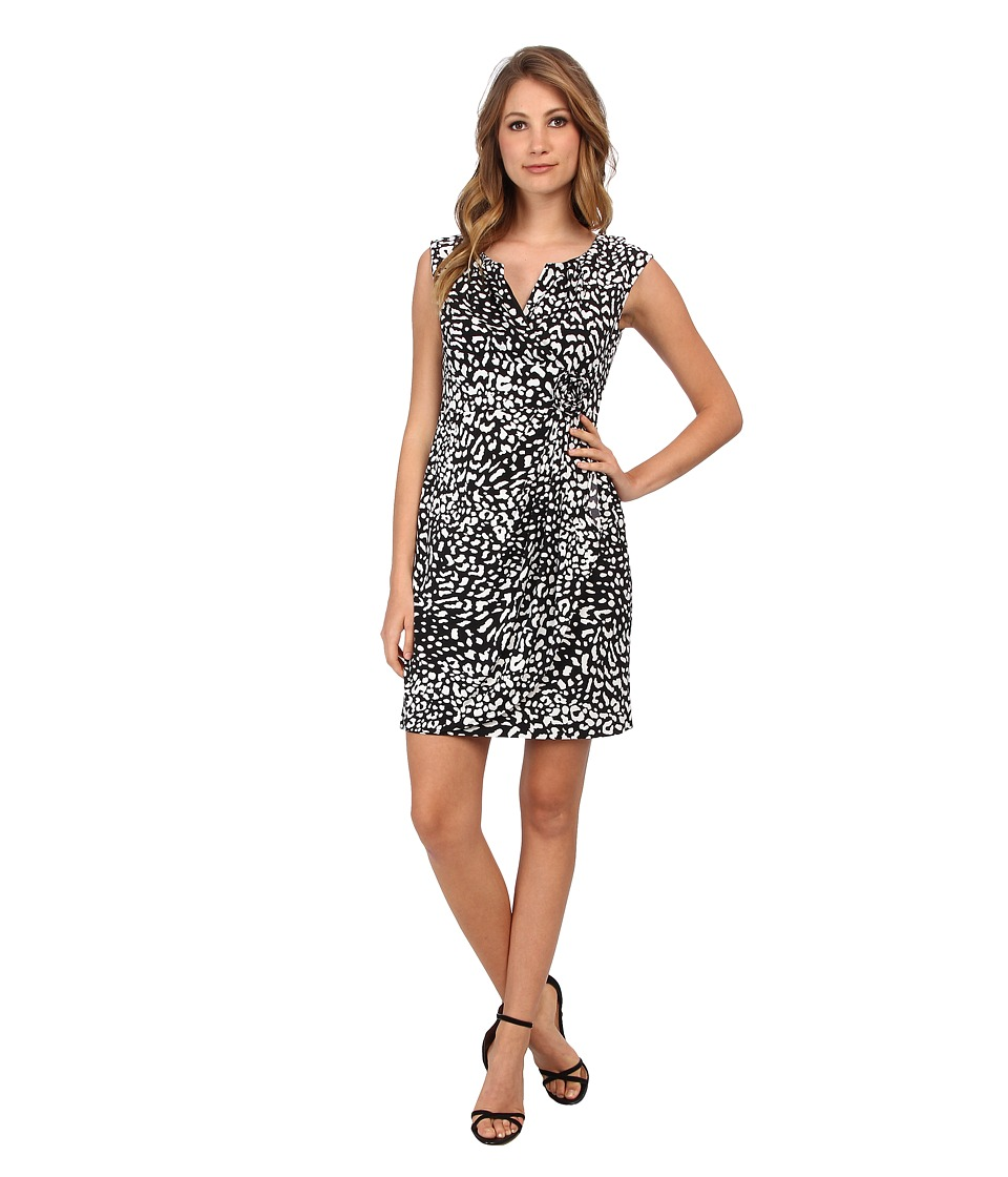 Adrianna Papell Rosette Animal Print Dress Womens Dress (Black)
