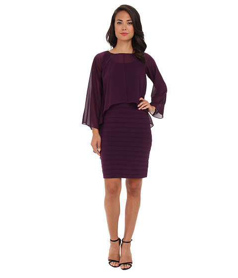Adrianna Papell - Poncho Banded Dress (Dusty Plum) Women's Dress