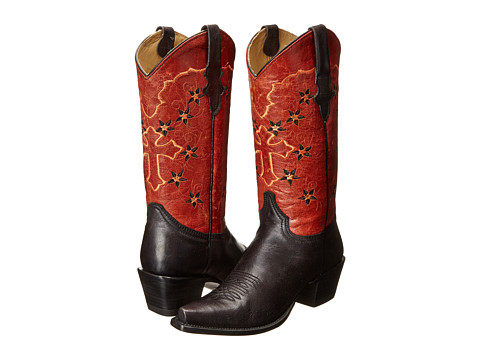 Stetson - 13 Shaft Single Welt Snip Toe Embroidered Shaft Boot (Black/Red) Cowboy Boots