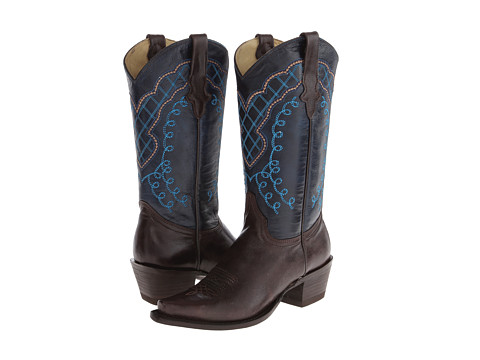 Stetson - 13 Shaft Single Welt Snip Toe Embroidered Shaft Boot (Brown/Blue) Cowboy Boots