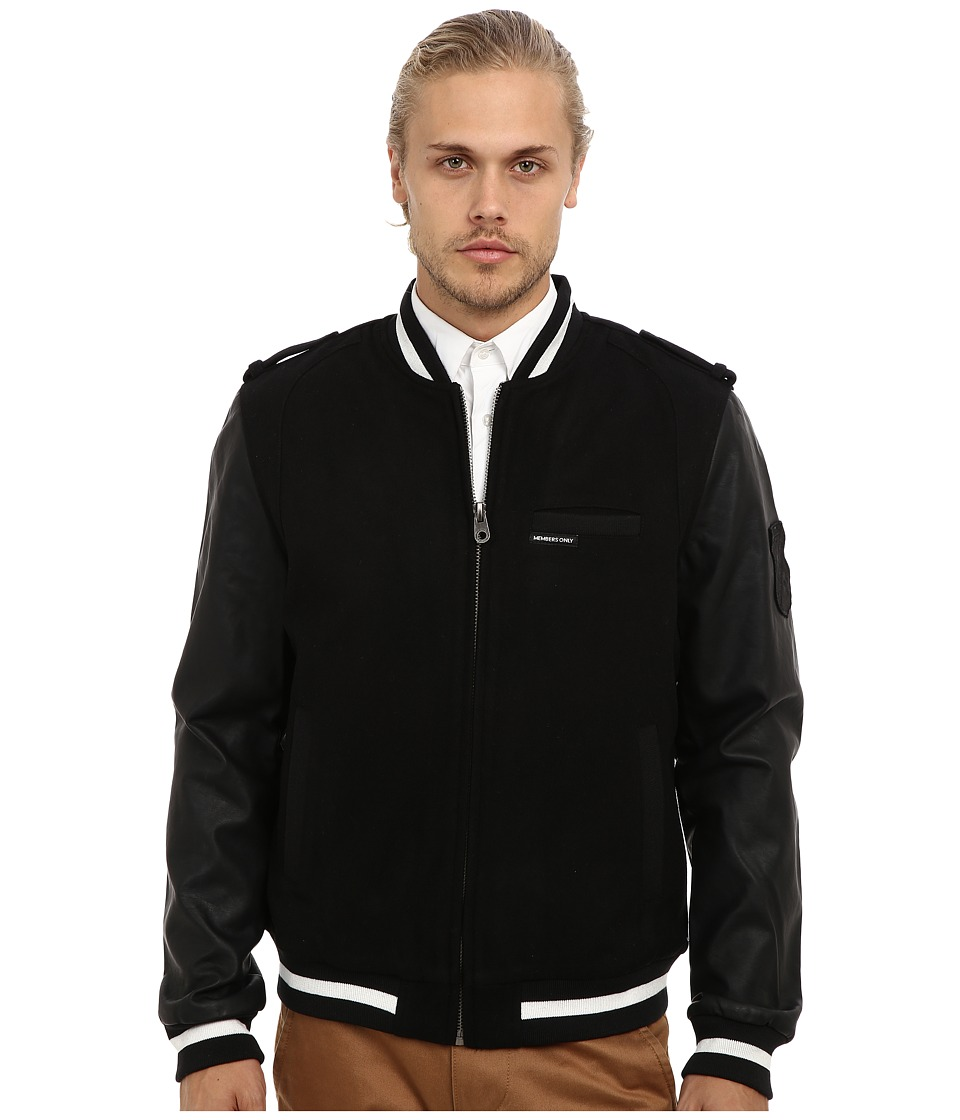 Members Only - Wool Blend Rocker Varsity Jacket w/ PU Sleeves (Black) Men's Jacket