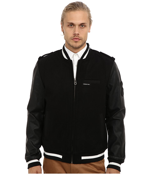 Members Only - Wool Blend Rocker Varsity Jacket w/ PU Sleeves (Black) Men
